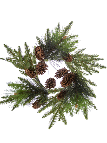 """Picture of 18"""" FIR PINE W/CONES C.RING"""