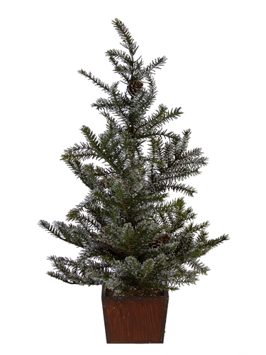 """Picture of 24"""" SNOWY SPRUCE TREE W/CONES"""