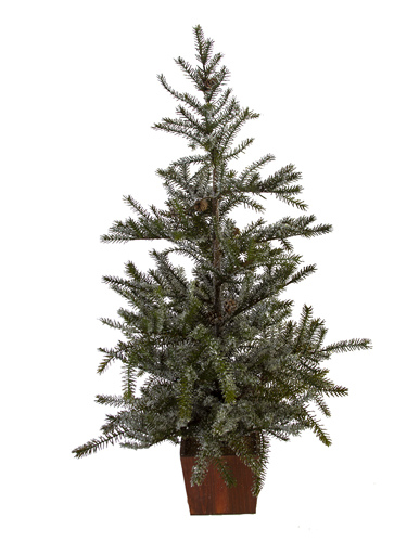 """Picture of 35"""" SNOWY SPRUCE TREE W/CONES"""
